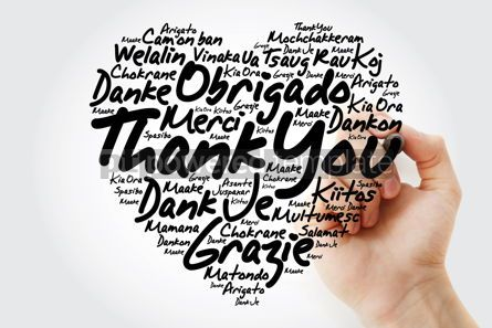 Business: Thank You Love Heart Word Cloud in different languages with mark #12017