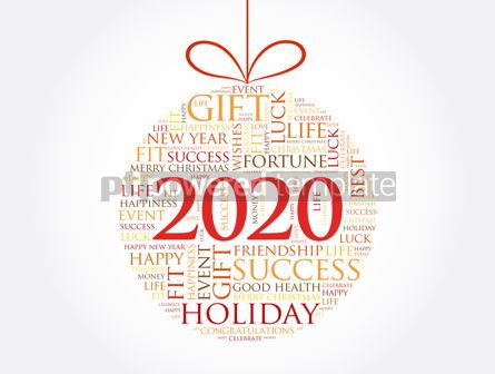 Holidays: Happy New Year 2020 Christmas ball word cloud #12033
