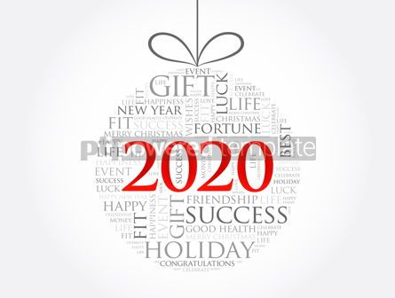 Holidays: Happy New Year 2020 Christmas ball word cloud #12034