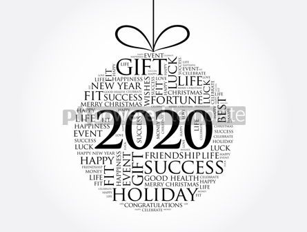 Holidays: Happy New Year 2020 Christmas ball word cloud #12035