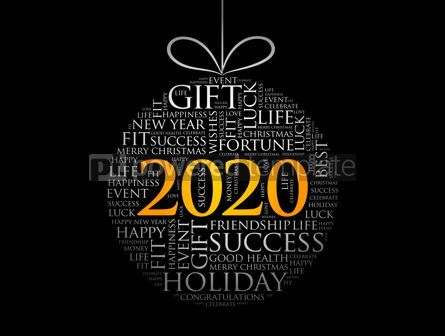 Holidays: Happy New Year 2020 Christmas ball word cloud #12036