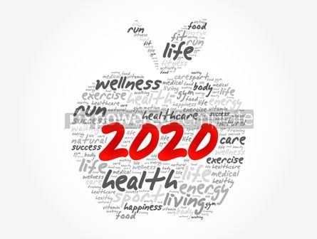 Health: 2020 apple word cloud collage health concept #12048