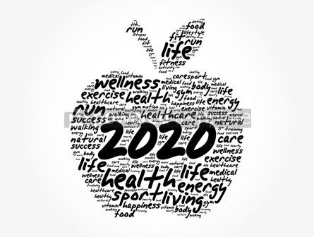 Health: 2020 apple word cloud collage health concept #12049
