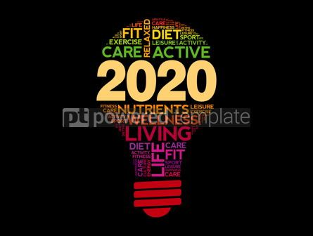 Health: 2020 health goals bulb word cloud #12121