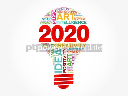 Education: 2020 Creative Ideas bulb word cloud collage #12136