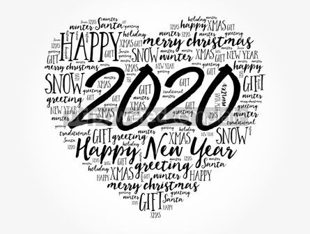 Business: 2020 Happy New Year Heart word cloud collage #12156