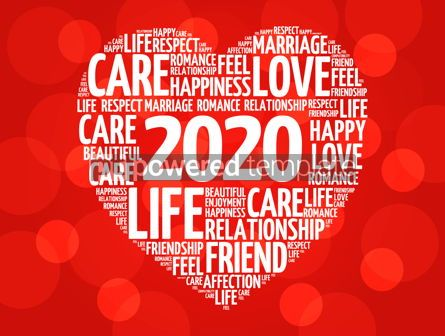 Business: 2020 Love and Happy concept heart word cloud #12223
