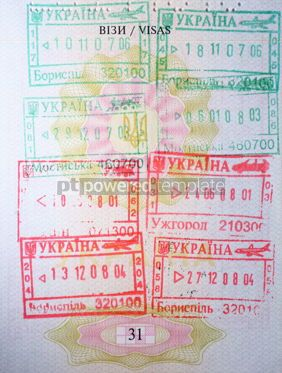 Business: Page of Passport with immigration stamps  #12269