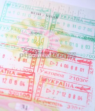Business: Page of Passport with immigration stamps  #12271
