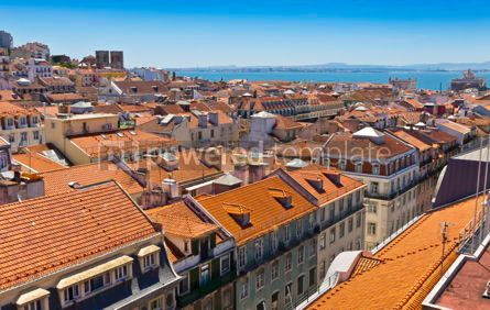 Architecture : Skyline aerial view of Lisbon Portugal #12297