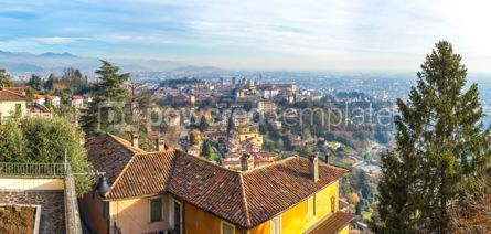 Architecture : Panoramic autumn view of Bergamo Old Town Italy #12323