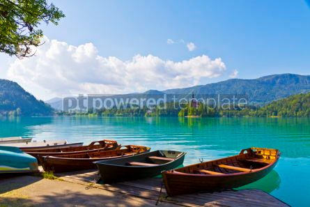 Nature: Landscape with boats at the pier of Bled Lake Slovenia #12333