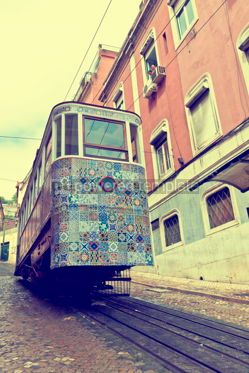 Transportation: The Gloria Funicular (Ascensor da Gloria) in Lisbon Portugal #12355