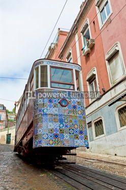 Transportation: The Gloria Funicular (Ascensor da Gloria) in Lisbon Portugal #12356
