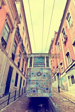 Transportation: The Gloria Funicular (Ascensor da Gloria) in Lisbon Portugal #12357