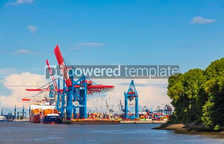 Industrial: Port of Hamburg on the river Elbe Germany #12361