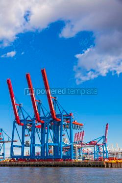 Industrial: Port of Hamburg on the river Elbe Germany #12365