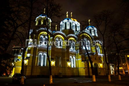 Architecture : St Volodymyr's Cathedral at night. Kyiv Ukraine #12374