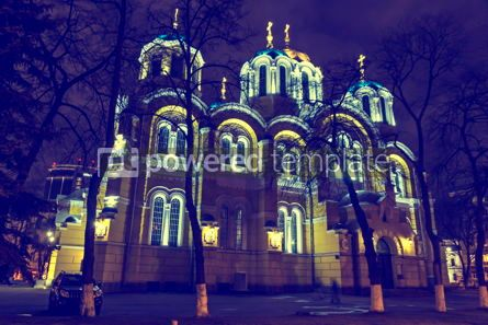 Architecture : St Volodymyr's Cathedral at night. Kyiv Ukraine #12376