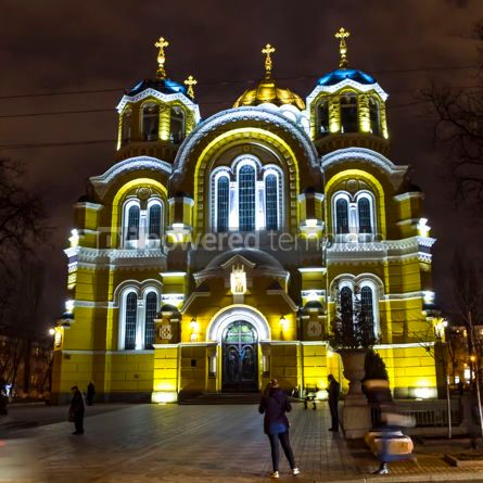 Architecture : St Volodymyr's Cathedral at night. Kyiv Ukraine #12377