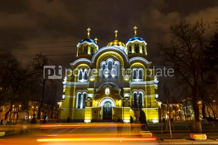 Architecture : St Volodymyr's Cathedral at night. Kyiv Ukraine #12378