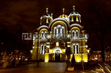 Architecture : St Volodymyr's Cathedral at night. Kyiv Ukraine #12379
