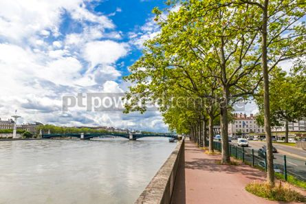 Architecture: Embankment of the Rhone river in Lyon France #12385