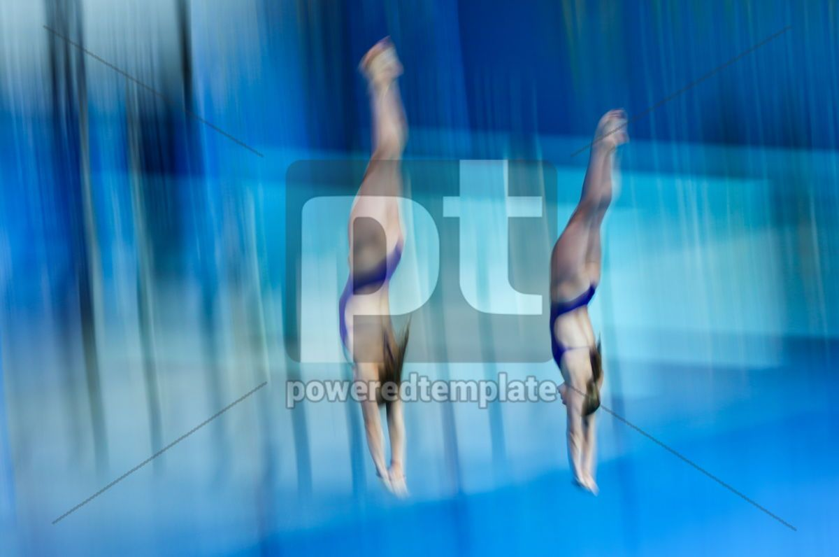 Synchro divers jump into water from the platform, 12459, People — PoweredTemplate.com