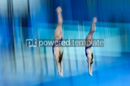 People: Synchro divers jump into water from the platform #12459