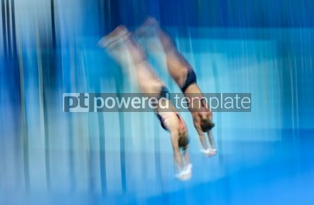 People: Synchro divers jump into water from the platform #12462