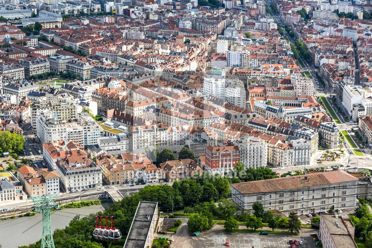 Aerial view of Grenoble old town France, 12464, Architecture  — PoweredTemplate.com