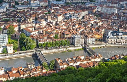 Architecture : Aerial view of Grenoble old town France #12466