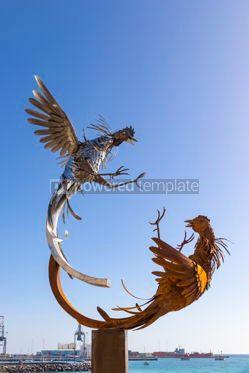 Architecture : Cockfighting sculpture on Fuerteventura Canary Islands Spain #12468