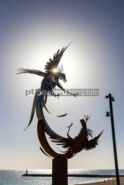 Architecture : Cockfighting sculpture on Fuerteventura Canary Islands Spain #12469