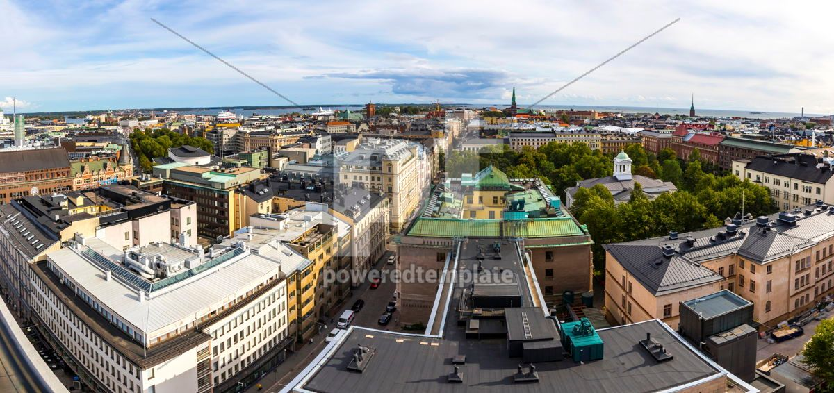 Panoramic aerial view of Helsinki city Finland, 12476, Architecture  — PoweredTemplate.com