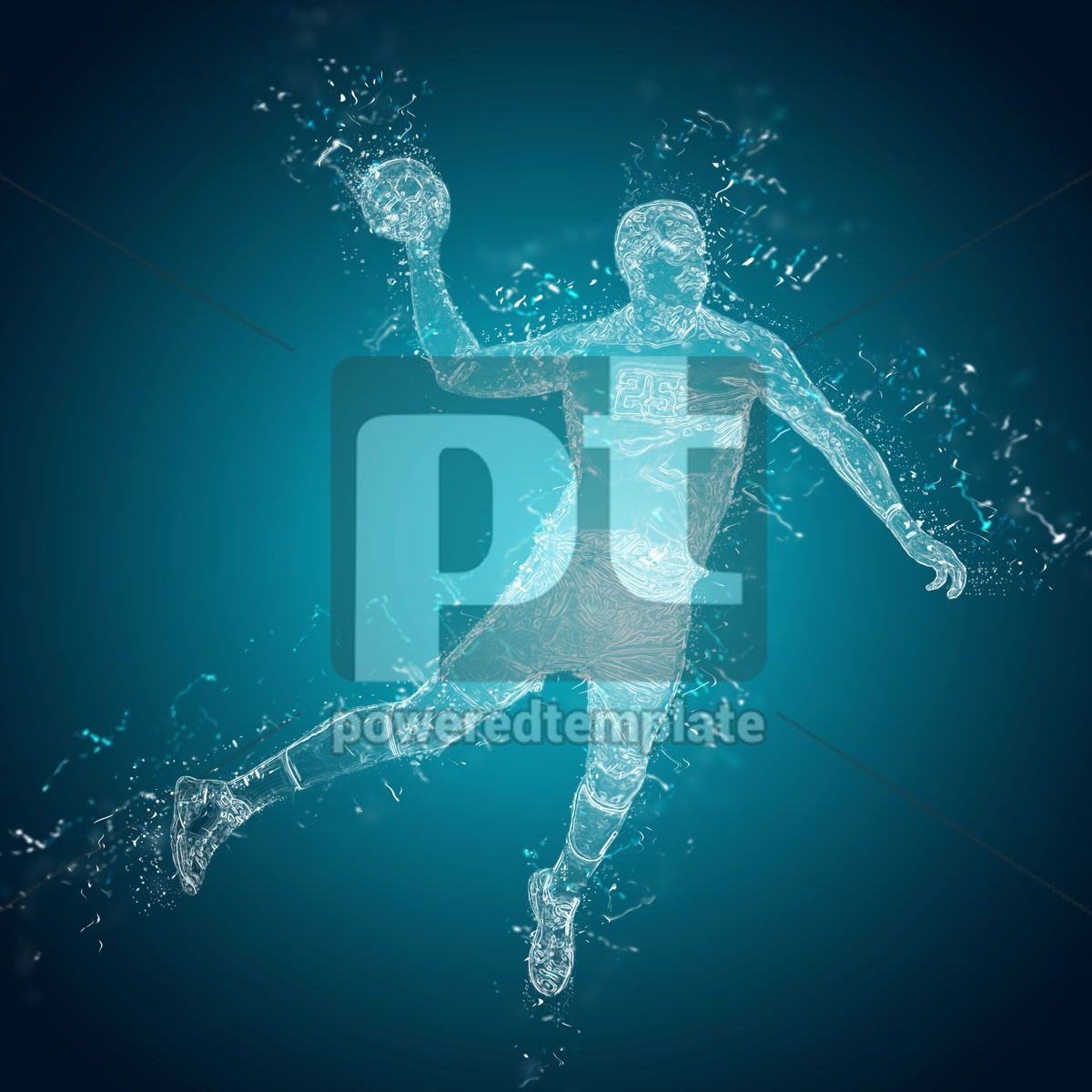 Abstract handball player in action, 12484, People — PoweredTemplate.com