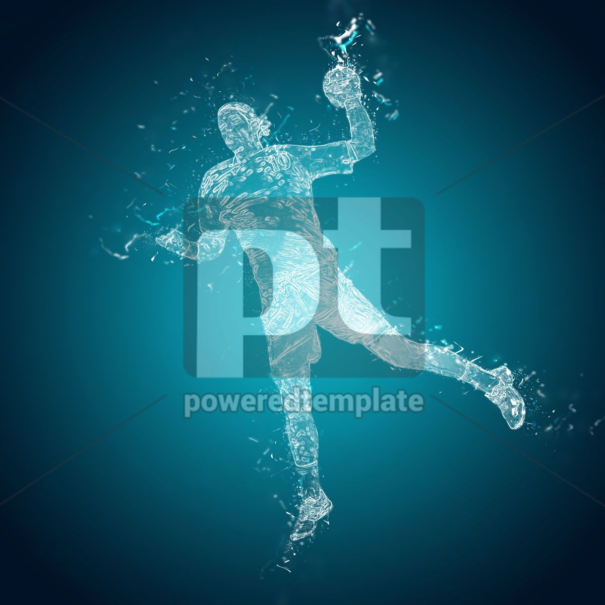 Abstract handball player in action, 12488, People — PoweredTemplate.com