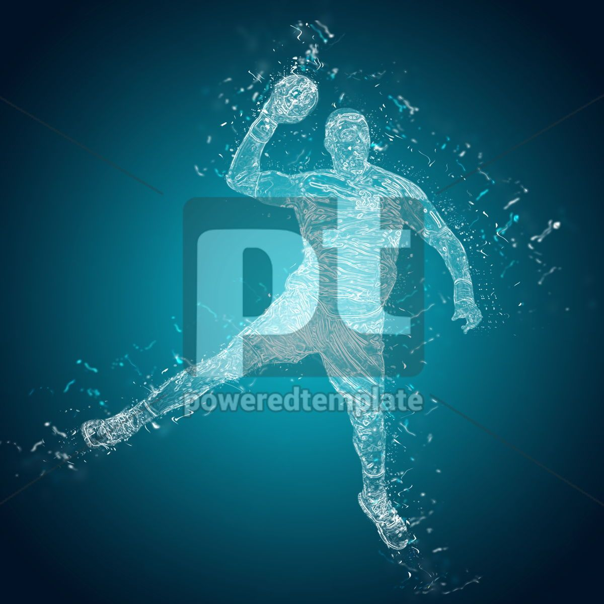 Abstract handball player in action, 12489, People — PoweredTemplate.com