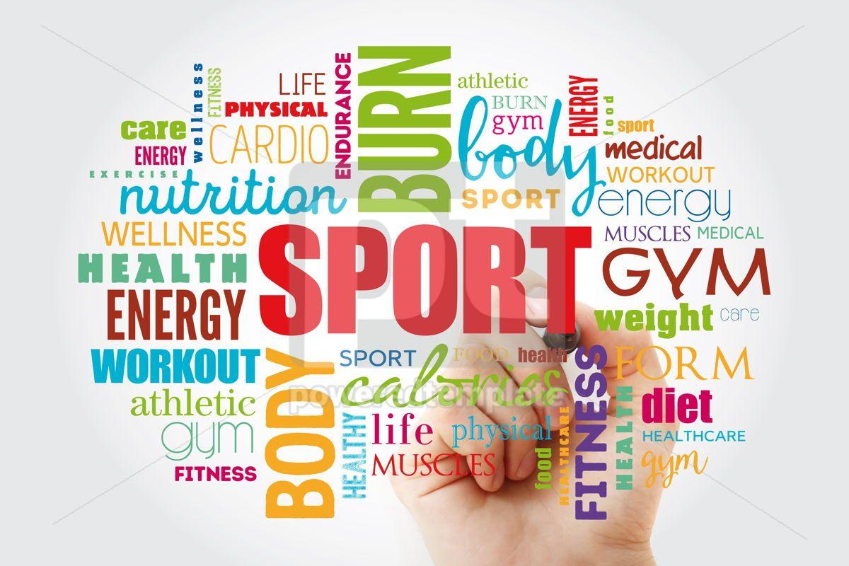SPORT word cloud fitness health concept, 12999, Business — PoweredTemplate.com