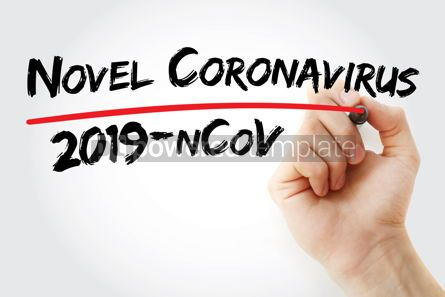 Education: Novel Coronavirus 2019-nCoV text with marker medical concept ba #13069