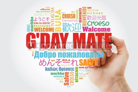 Business: G'day Mate Welcome in Australian love heart word cloud in diff #13226