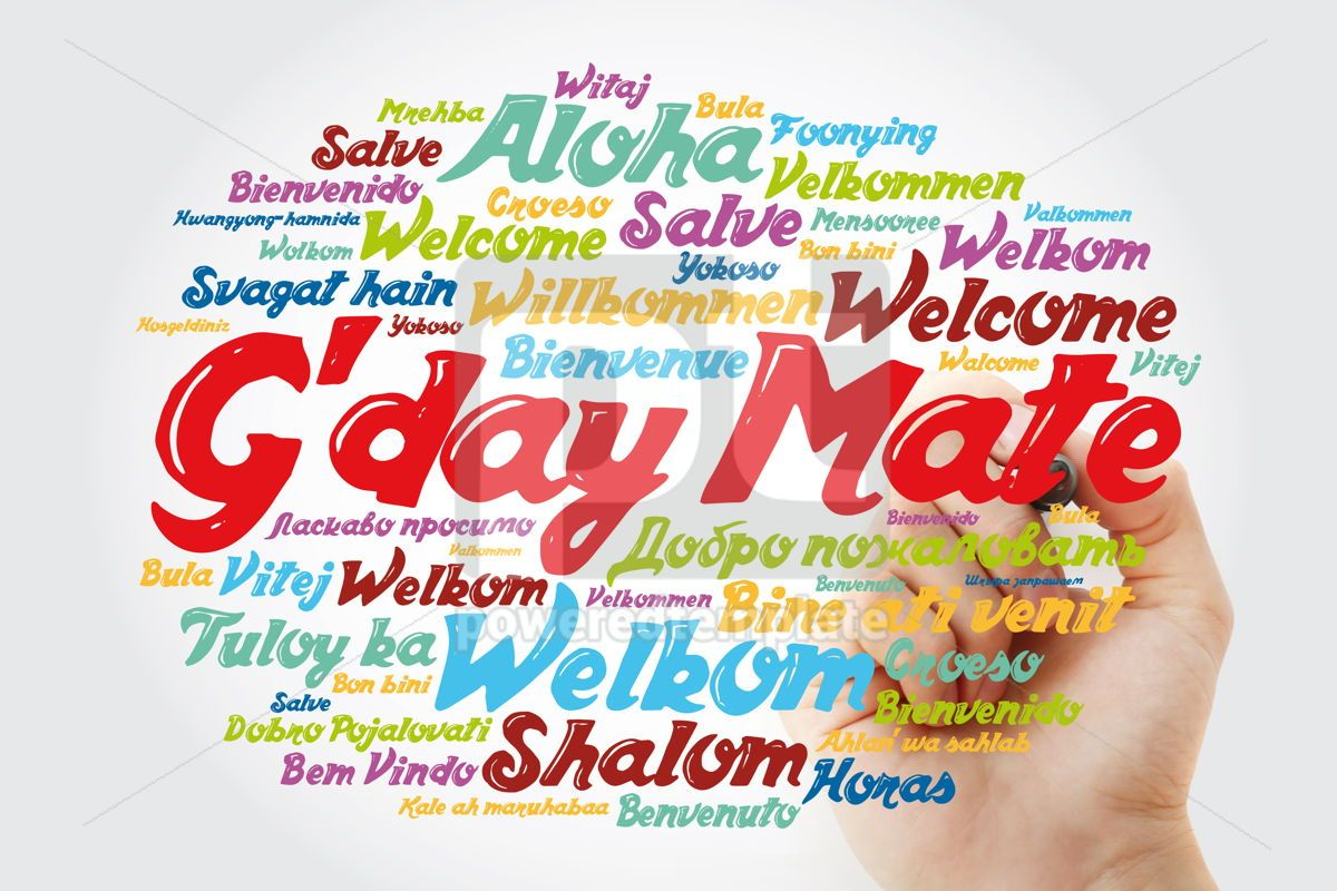 G'day Mate Welcome in Australian word cloud in different langu, 13227, Business — PoweredTemplate.com