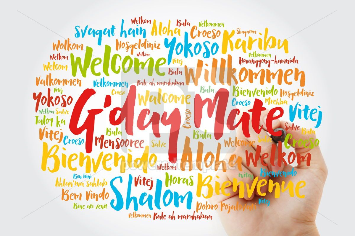 G'day Mate Welcome in Australian word cloud in different langu, 13228, Business — PoweredTemplate.com