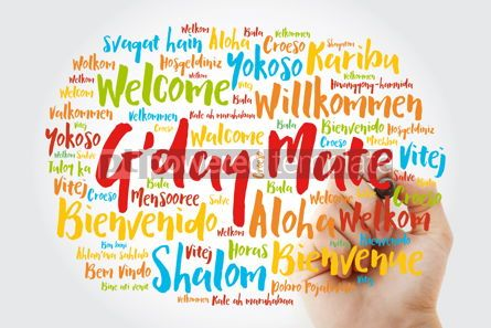 Business: G'day Mate Welcome in Australian word cloud in different langu #13228