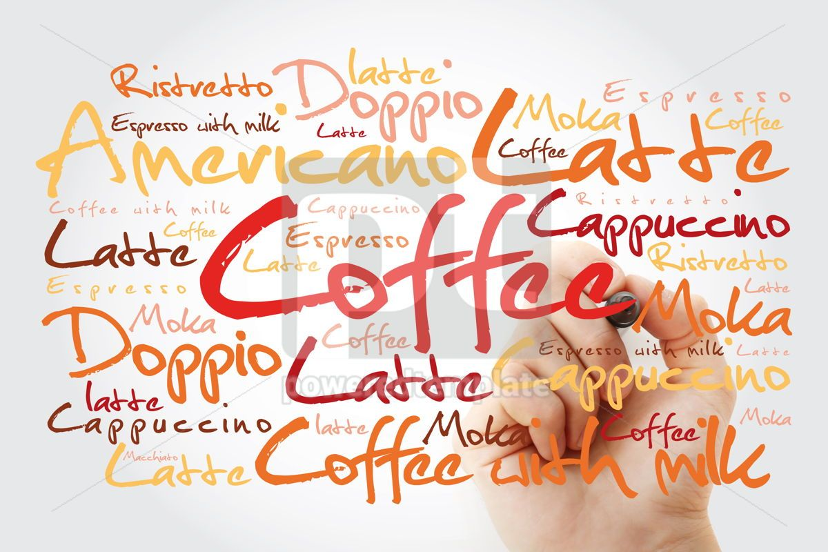 List of coffee drinks word cloud with marker design background, 13229, Business — PoweredTemplate.com