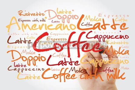 Business: List of coffee drinks word cloud with marker design background #13229