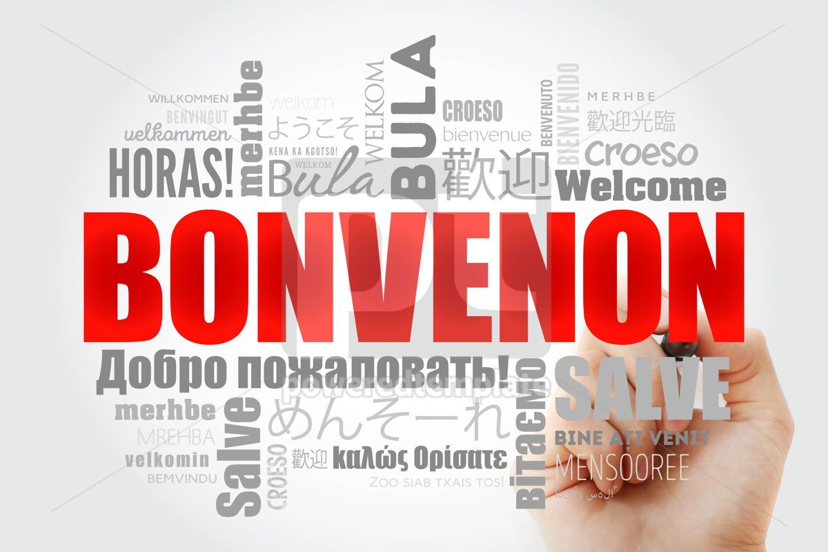 Bonvenon Welcome in Esperanto word cloud with marker in differ, 13231, Business — PoweredTemplate.com