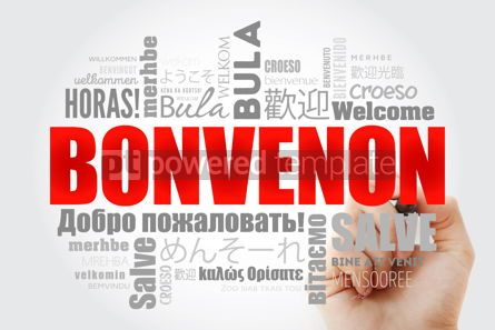 Business: Bonvenon Welcome in Esperanto word cloud with marker in differ #13231