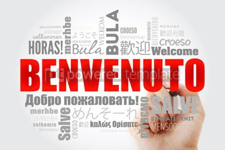 Business: Benvenuto Welcome in Italian word cloud with marker in differe #13233