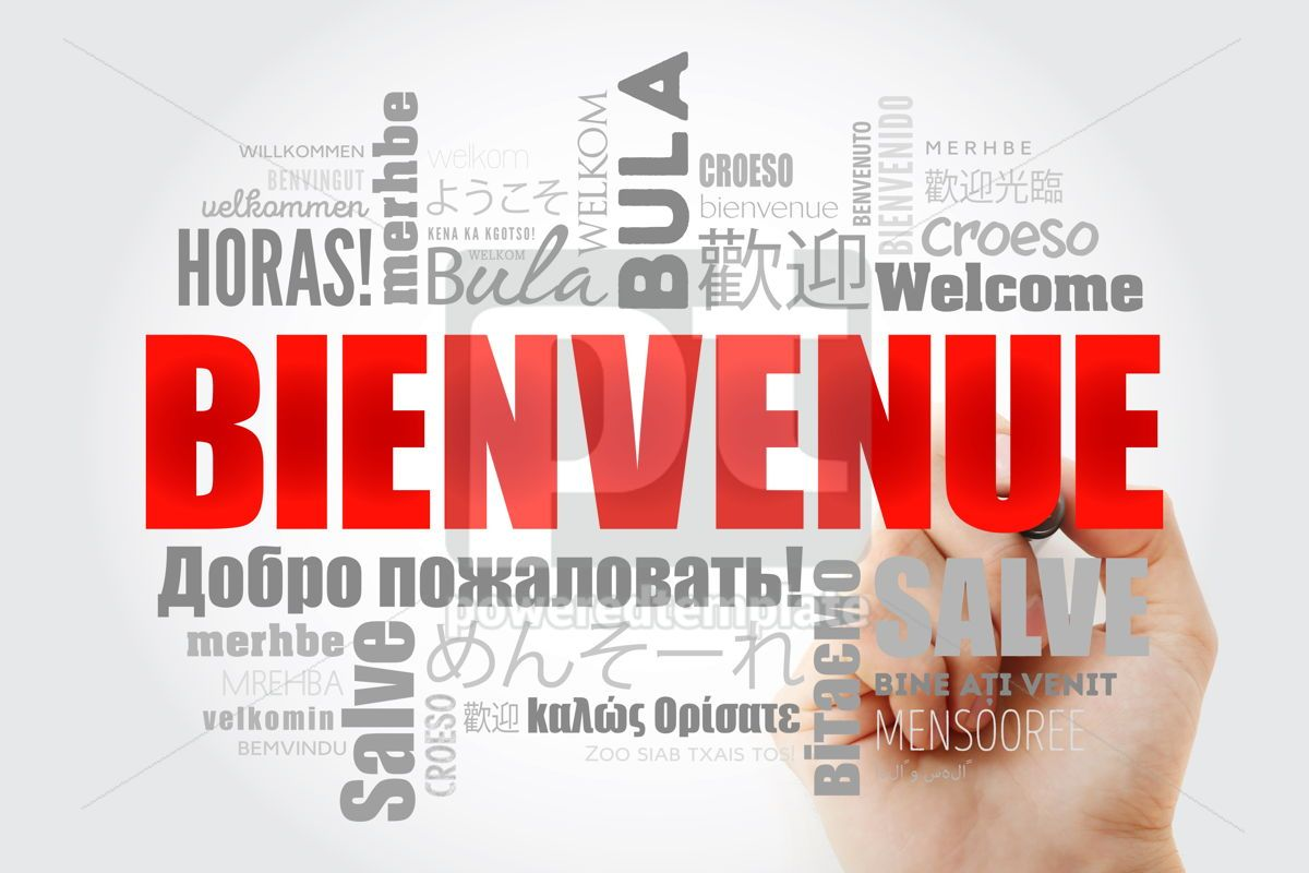 Bienvenue Welcome in French word cloud with marker in differen, 13234, Business — PoweredTemplate.com